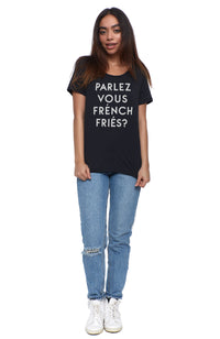social sunday parlez vous french fries tee shirt