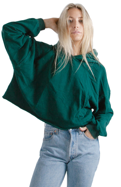 social sunday basic green cropped pullover hoodie