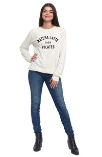 social sunday matcha latte then pilates pullover sweatshirt