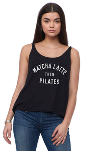 social sunday matcha latte then pilates scoop tank