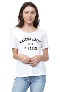 social sunday matcha latte then pilates short sleeve tee shirt