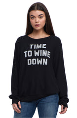 SOCIAL SUNDAY TIME TO WINE DOWN PULLOVER SWEATSHIRT