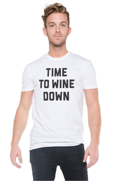 SOCIAL SUNDAY TIME TO WINE DOWN MENS SHORT SLEEVE TEE SHIRT