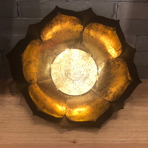 Gold Leafed Metal Lotus Bowl