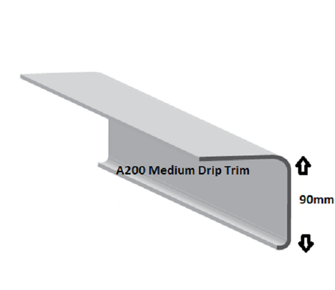 This A200 drip trim allows drainage into the gutter.  This product matches with the B260 raised edge trim and is compatible with corner trims C1 External and C4 Internal This product comes at a length of three meters.