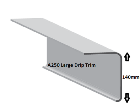 This A250 trim allows drainage into the gutter.  This drip trim matches with the B300 raised edge trim and is compatible with corner trims C1 external and C4 internal.