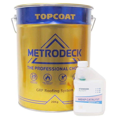Metrodeck topcoat is specifically manufacturered for GRP roofing systems. When used with Metrodeck resin it meets BS476 part 3 AB external fire test specification. Contains flexible additives to resist thermal expansion and UV stabilising chemicals to keep its colour and finish for longer. Coverage 500-600g per m2 (approx).