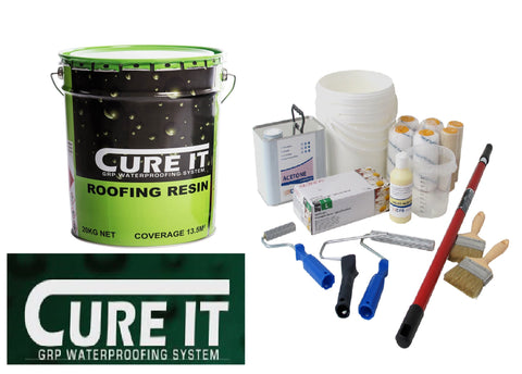 Image of Cure-It Fire Retardant Grp Roof Kits 600grm matting  with or without Tools,(Resin/Topcoat / Catalyst are Cure it /all other items in the kit are our own High Quality brand)