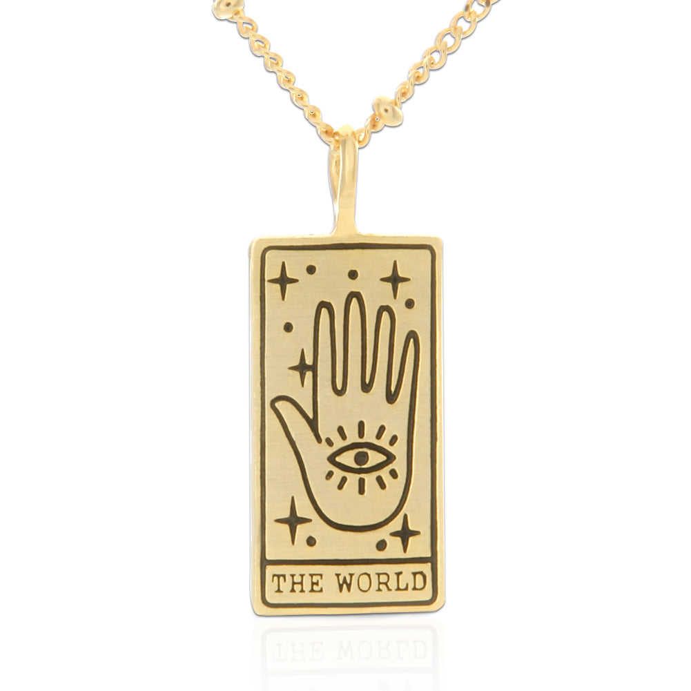 Tarot Card Necklace World, 21""