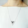 2 Tone Arrow V Necklace