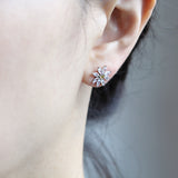 Crystal Daisy Flower Chain Drop Earrings Ear Jackets