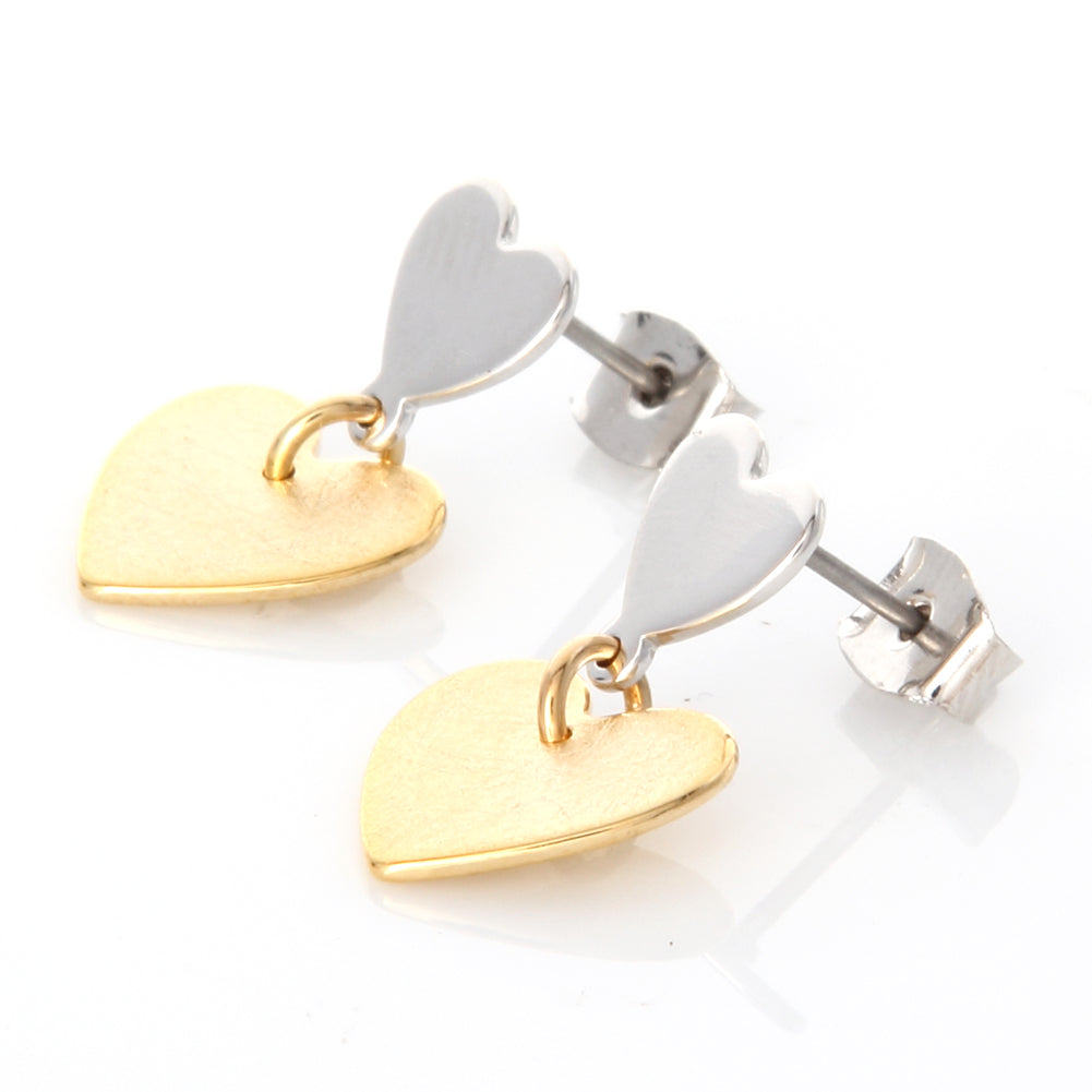 2 Tone Brushed Hearts Earrings