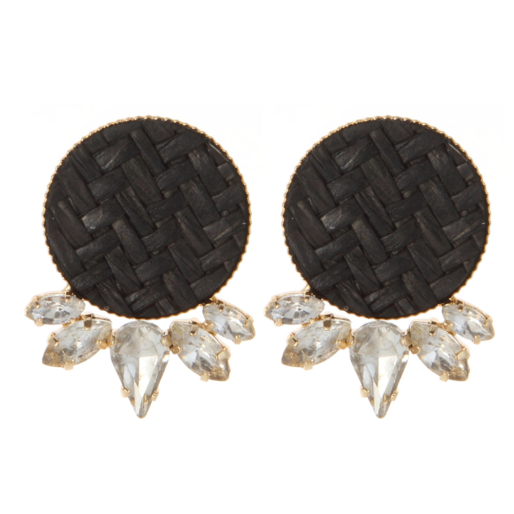 Circle Raffia Earrings with CZ