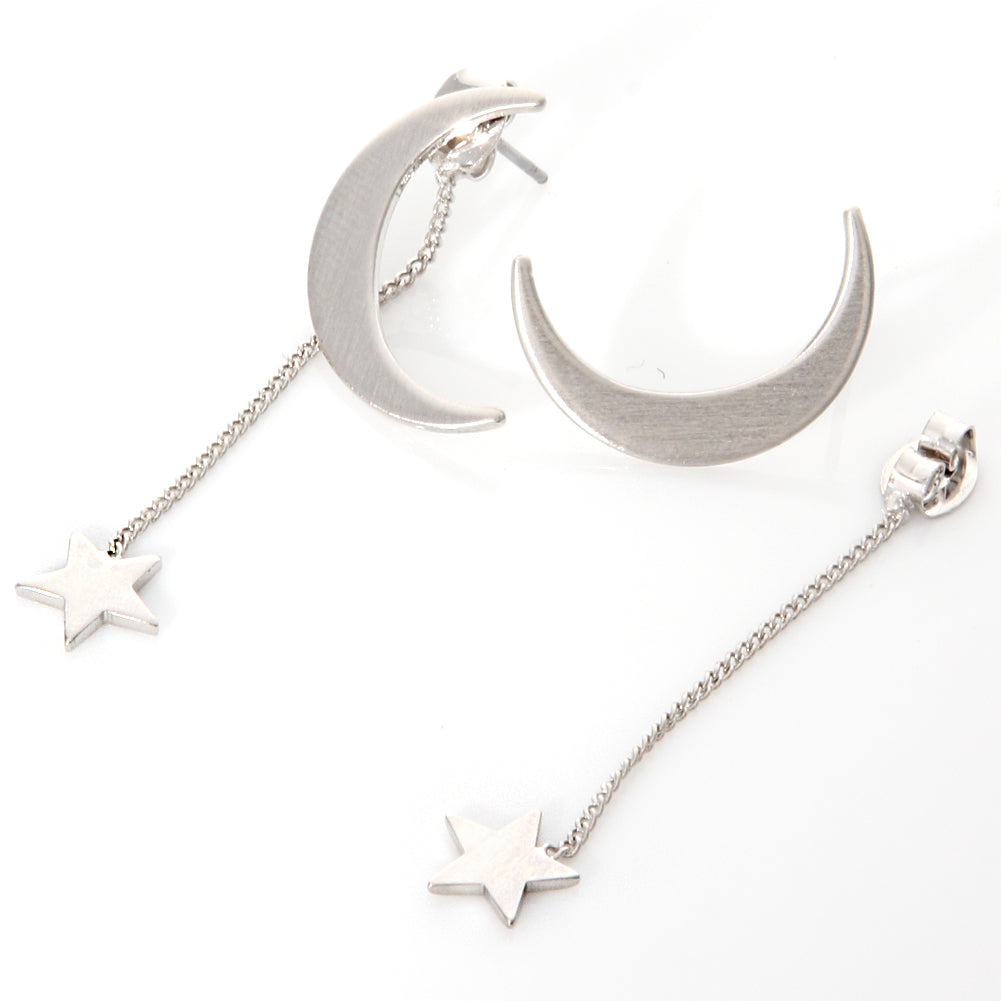 Crescent Moon and String Star Earrings