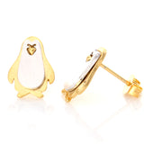 2 Tone Penguin Earrings