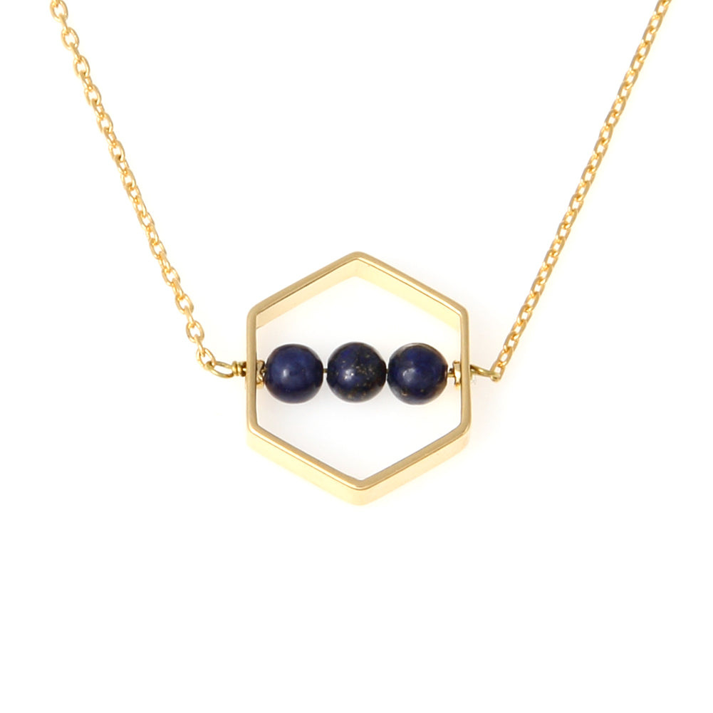 Hexagon necklace with the ball stones