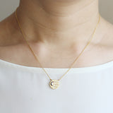 Crescent Moon on Round Disc Necklace