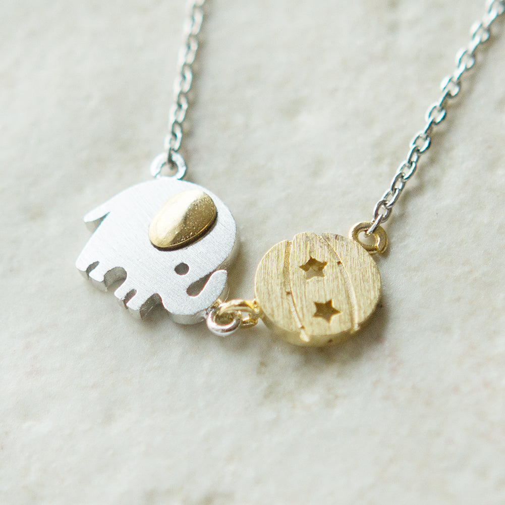 Baby Elephant and Ball Necklace