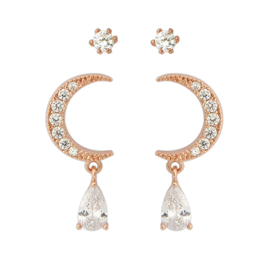 2 Set CZ Crescent Moon Earrings and Fake Diamond Studs 2 Pairs Earrings