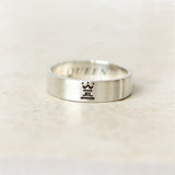 Horizontal King and Queen Ring in sterling silver, Couples Ring, Custom Personalized Initial Ring