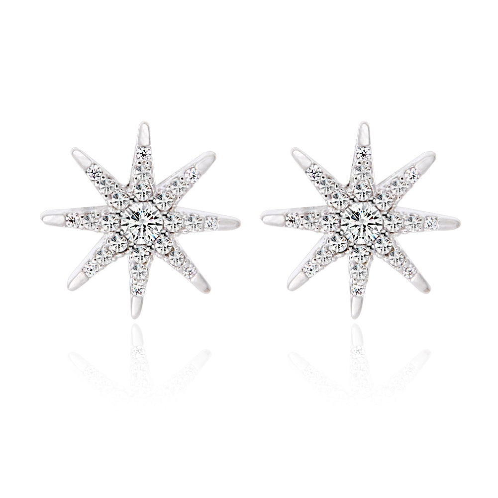 CZ Starburst Earrings Studs