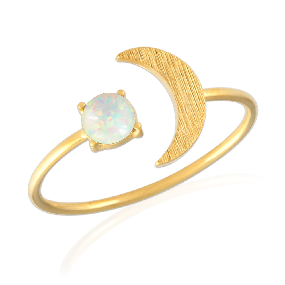 Opal and Crescent Moon Ring