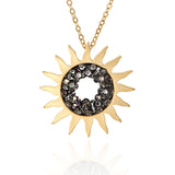 Sunburst and Black CZ Necklace Plated Brass, 22 inches