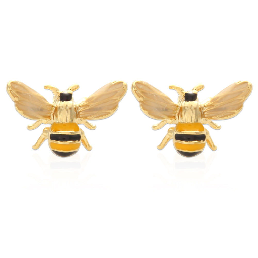 Epoxy Honeybee Stud Earrings