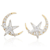 14K Gold Plated Two-Tone CZ Crescent Moon and Star Earrings for Women