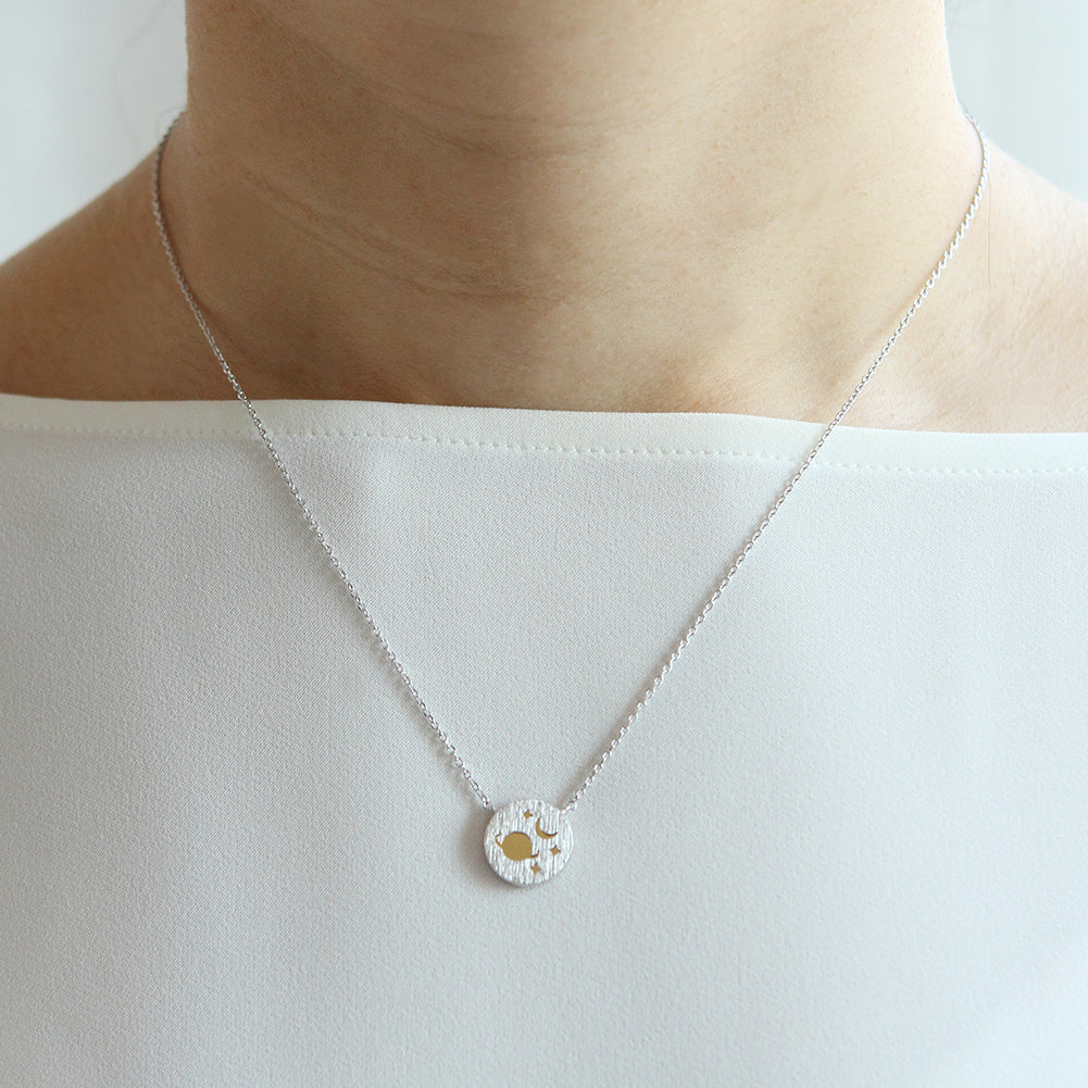 Planet and Crescent Moon 2 Tone Disc Necklace