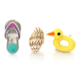 Flip flop Conch Duck swim floats Earrings Set of 3