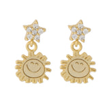 Tiny Sun and Star Earrings