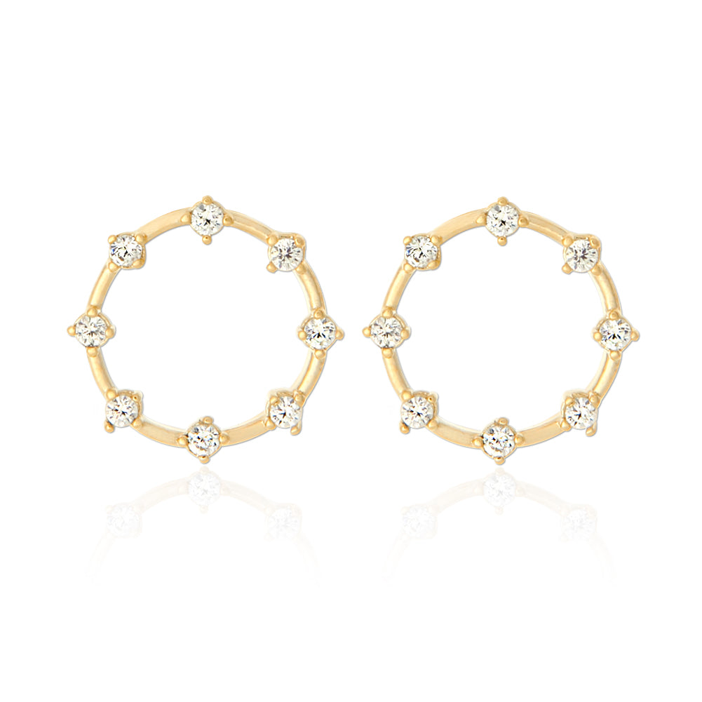 Open Circle Earrings with Tiny Round Crystals