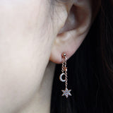 Tiny CZ Stars and Crescent Moon Chain Drop Ball Earrings