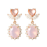 Peach Colored Heart Shape Flower and Oval Crystal Drop Earrings