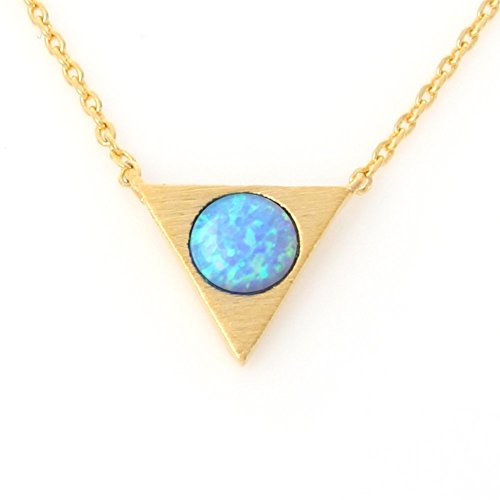 Round Opal Triangle Necklace