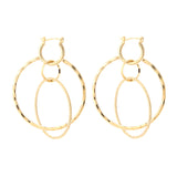 Linked Circles and Faceted Hoop Dangle Earrings