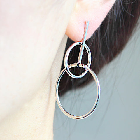 Arrow and Linked Circles Earrings
