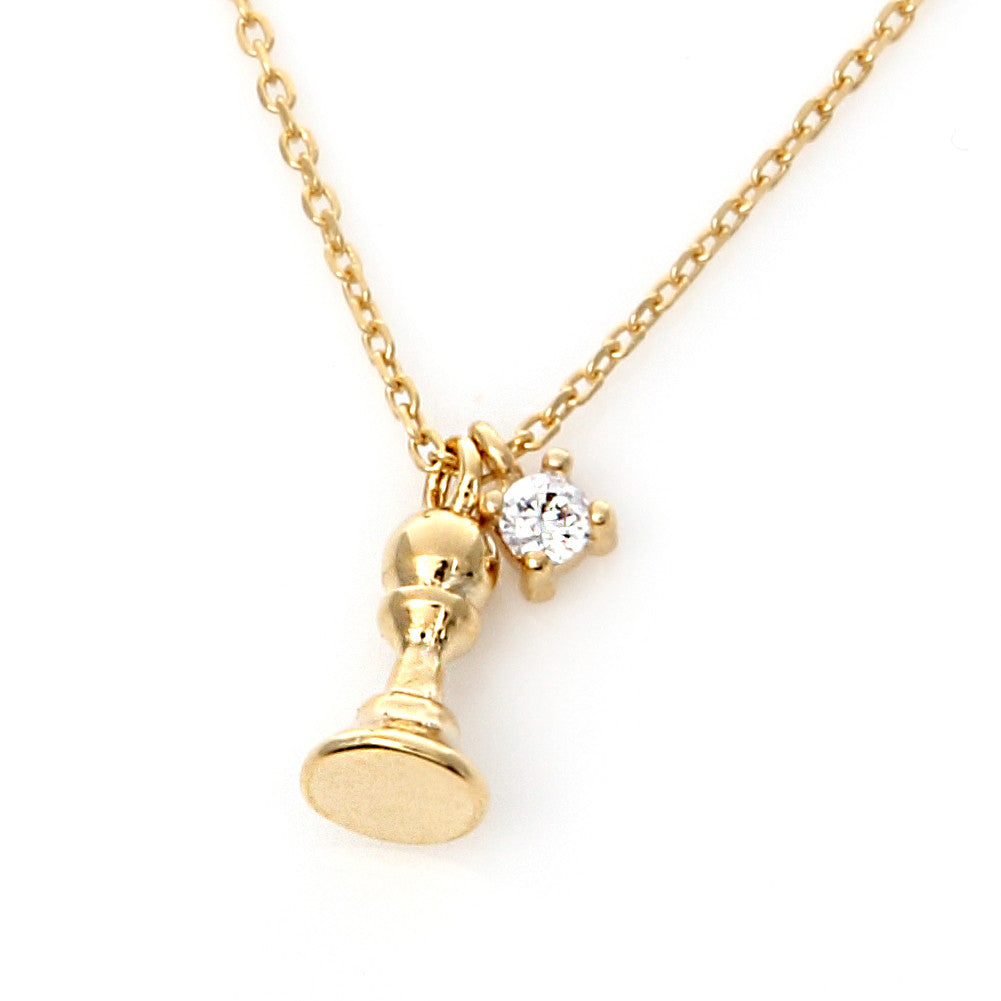 Tiny Chess Piece and Cubic Zirconia Necklace