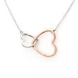 2 Tone Linked Hearts Necklace