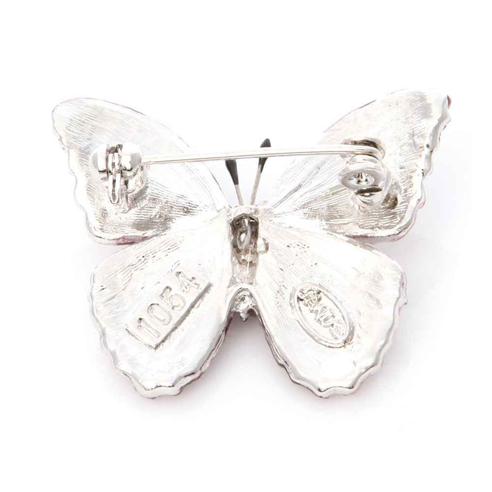 Swarovski Crystal Butterfly Brooch Pin/ Clear White