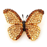 Swarovski Crystal Butterfly Brooch Pin/ Brown Gold