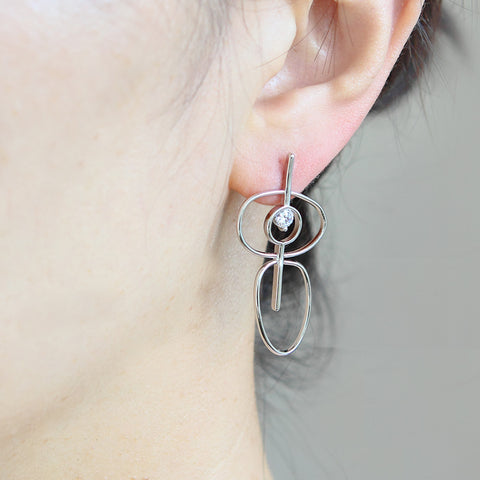 2 Tone Brushed Circles Earrings