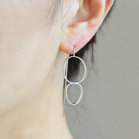 Linked Circles and Nuggets Dangle Earrings