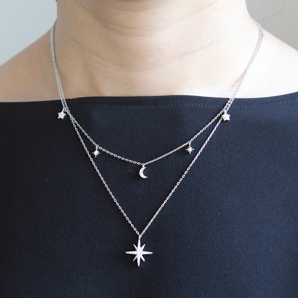 CZ Crescent Moon and Stars Layered Necklace Plated Brass