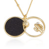 Sun and Cactus_Blue Goldstone Disc Pendant Necklace, 21.5 inches