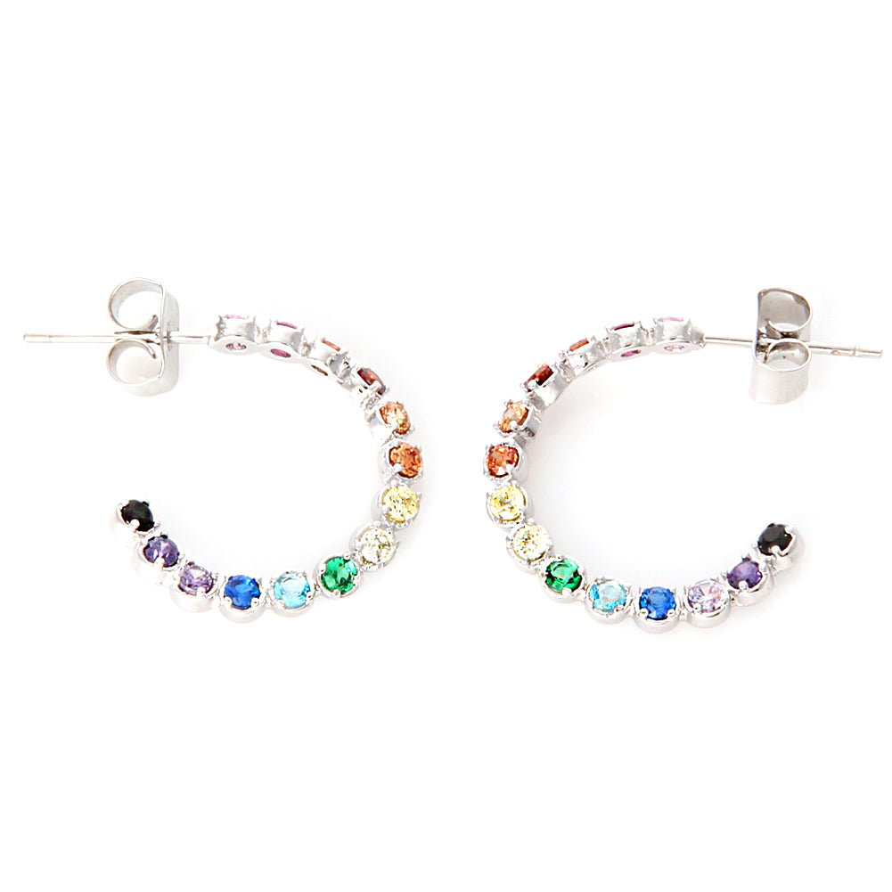 Multi Rainbow Color CZ Twisted Hoop Earrings