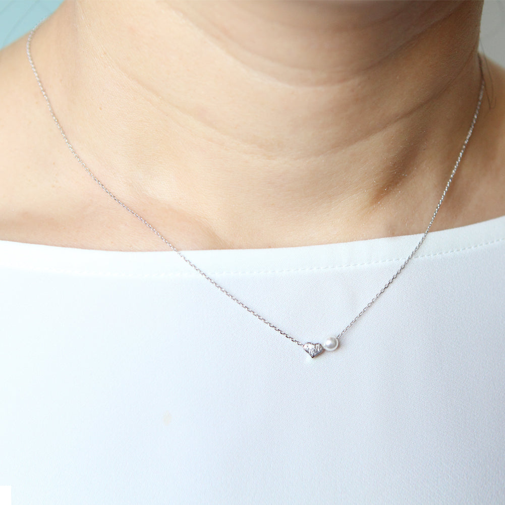 Tiny Heart and Simulated Pearl Necklace