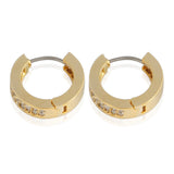 13 mm_Double Line CZ Hoop Earrings 14K Gold Plated