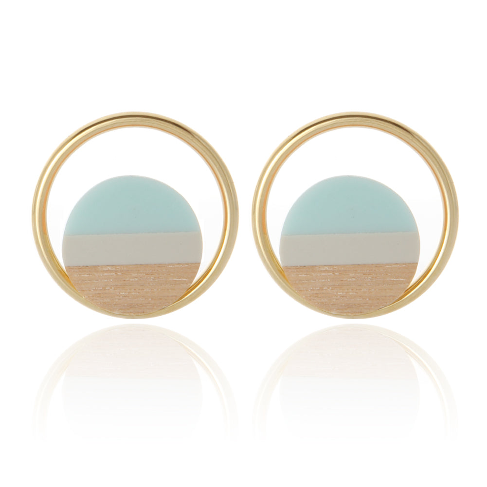 3 Multi Color Wood and Circle Earrings